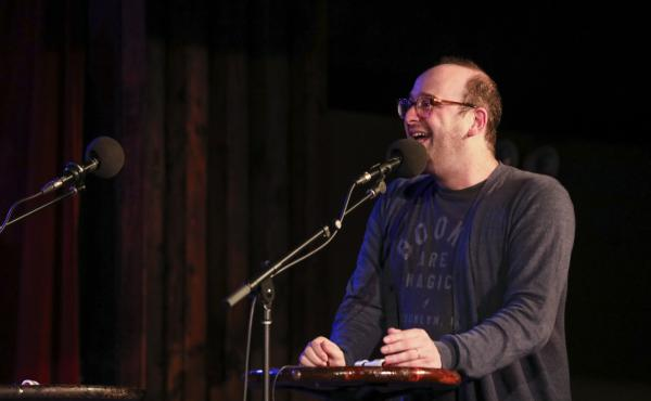 Josh Gondelman appears on Ask Me Another at the Bell House in Brooklyn, New York.