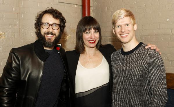 Josh Groban and Lucas Steele with Ophira Eisenberg on Ask Me Another.