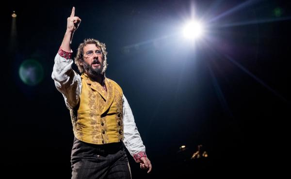 Groban wears a fat suit and a scruffy beard in his role as the generous but miserable Pierre.