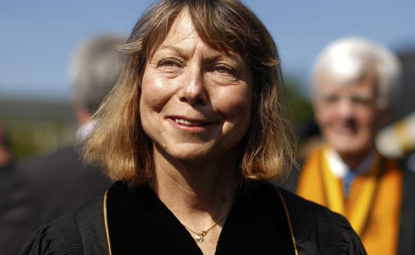 Jill Abramson, former executive editor at The New York Times walks in with faculty and staff during commencement ceremonies for Wake Forest University on May 19, 2014 in Winston Salem, North Carolina. Abramson delivered the commencement address at the uni