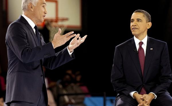 President Obama participates in a town hall hosted by Univision with news anchor Jorge Ramos in 2011.