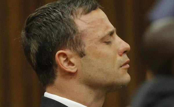 South African athlete Oscar Pistorius cries while the verdict is being read during his murder trial in Pretoria, South Africa, on Thursday.