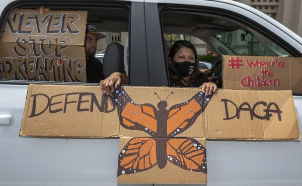 """People demonstrate in June in Los Angeles in favor of the Deferred Action for Childhood Arrivals program. Immigrant rights advocates hailed a Friday court ruling allowing new applications as a """"huge victory for people who have been waiting to apply for DA"""