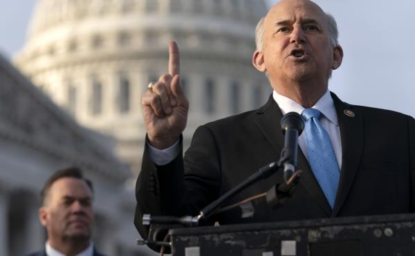 Rep. Louie Gohmert, R-Texas (right) speaks during a Dec. 3 news conference on Capitol Hill. Gohmert and other Republicans filed suit to give Vice President Pence authority to count the votes of alternate electors. A judge threw the suit out.