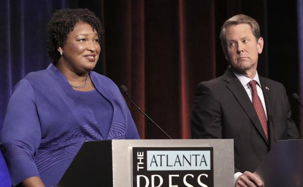 Georgia gubernatorial candidates Democrat Stacey Abrams and Republican Brian Kemp during a debate last month.