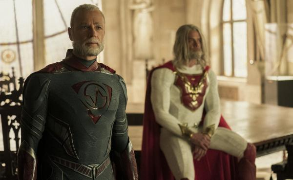 L to R: Walter/Brainwave (Ben Daniels) and Sheldon/The Utopian (Josh Duhamel) agree to table their discussion in Netflix's Jupiter's Legacy.