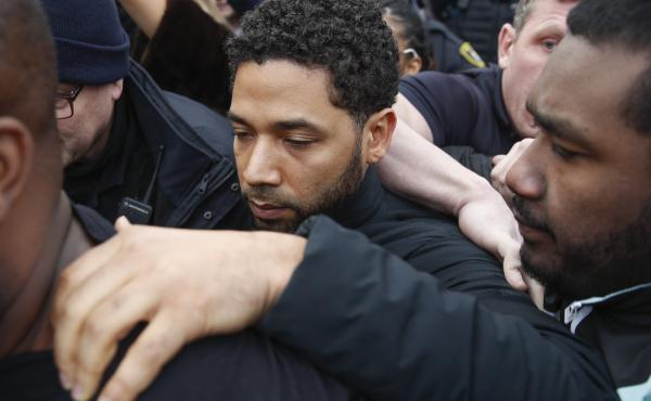Empire actor Jussie Smollett leaves Cook County jail following his release in Chicago last month.