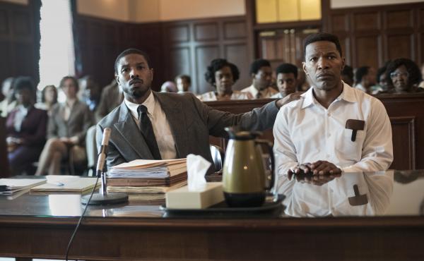 Bryan Stevenson (Michael B. Jordan) defends wrongly condemned Walter McMillan (Jamie Foxx) in Destin Daniel Cretton's film.