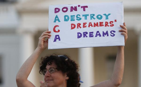 Protestors supporting Deferred Action for Childhood Arrivals outside the White House.