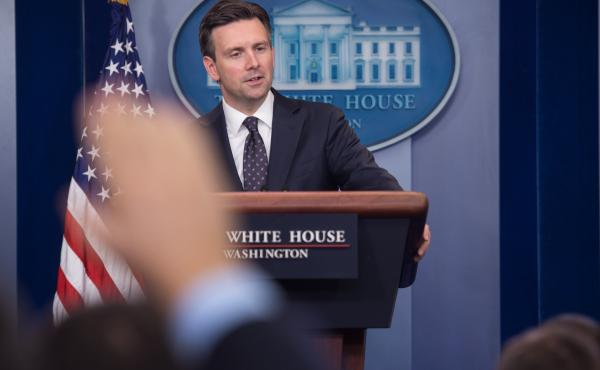 """White House spokesman Josh Earnest at the White House briefing Tuesday, where he said he would """"neither defend nor criticize what Director [James] Comey has decided to communicate to the public"""" regarding the investigation of Hillary Clinton's private ema"""