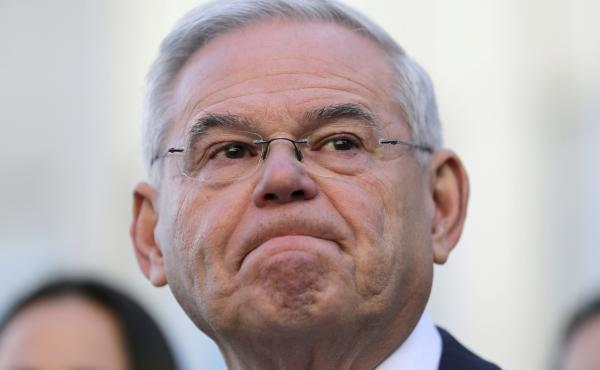 Democratic Sen. Bob Menendez in front of the courthouse in Newark, N.J., after the judge in the case declared a mistrial.