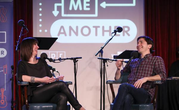 Ask Me Another host Ophira Eisenberg interviews Justin Long at the Bell House in Brooklyn, New York.