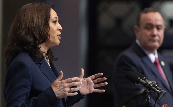 """Vice President Harris had what she called """"robust"""" talks with Guatemalan President Alejandro Giammattei."""