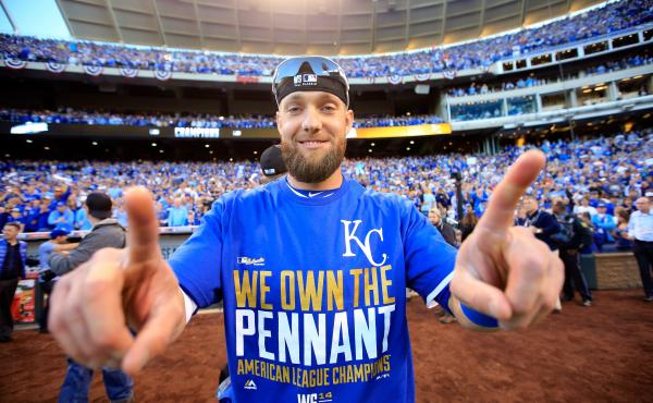 Outfielder Alex Gordon of the Kansas City Royals celebrates the team's Game 4 win over the Baltimore Orioles, which completed a sweep of the American League Championship Series, at Kauffman Stadium in Kansas City, Mo., on Wednesday.