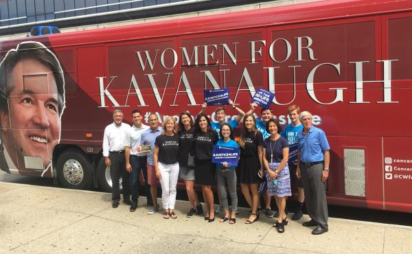 Activists from Concerned Women for America make a stop on their bus tour in Indianapolis, Ind., where Democratic Sen. Joe Donnelly is facing pressure from the right as he prepares to vote on the Supreme Court nomination of Judge Brett Kavanaugh just weeks