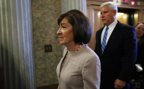 Sen. Susan Collins, R-Maine, arrives on Capitol Hill on Friday. Collins voted to advance Brett Kavanaugh's nomination and announced Friday afternoon that she will vote to confirm Kavanaugh to the Supreme Court.