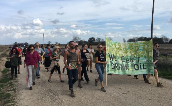"""""""Keep it in the ground"""" activists protesting the Bayou Bridge Pipeline on February 17, 2018 near Belle Rose, Louisiana."""