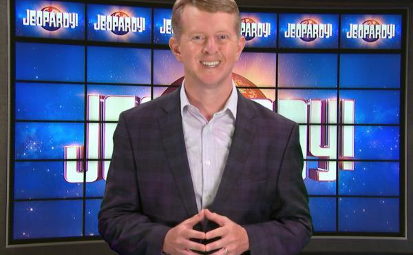 This image released by JEOPARDY! shows Ken Jennings, a 74-time champion the the set of the popular quiz show. Jennings will be the first interim guest for the late Alex Trebek, and the show will try other guest hosts before naming a permanent replacement.