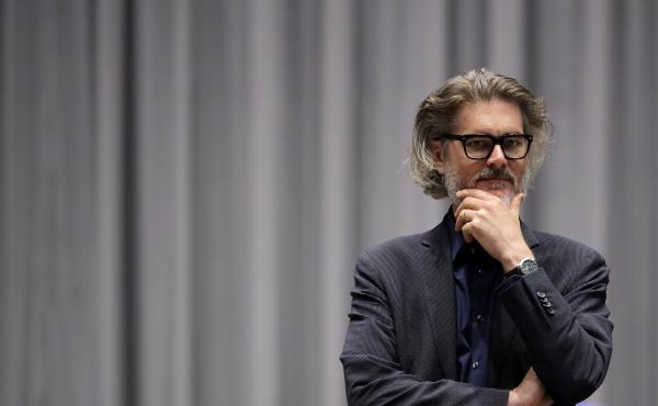 """Author Mo Willems supervises a rehearsal of the musical adaptation of Don't Let the Pigeon Drive the Bus! at the Kennedy Center in Washington, D.C. As the very first Education Artist-in-Residence, """"I can say at this point that I am the greatest ... """" he l"""