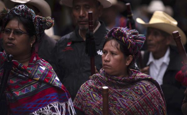 Mayan indigenous people protest against the government of Guatemalan President Jimmy Morales on the day he gives an address to Congress in Guatemala City, Monday.