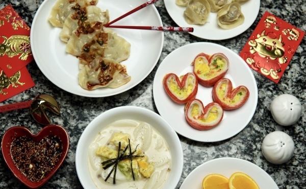 Dumplings (top), imitation crab jeon (center right), tteokguk (bottom left) / Courtesy of Jessica Woo
