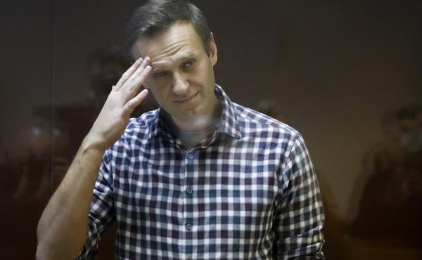 Russian opposition leader Alexei Navalny, shown here in a February court session, reportedly has lost more than 30 pounds since his arrest.