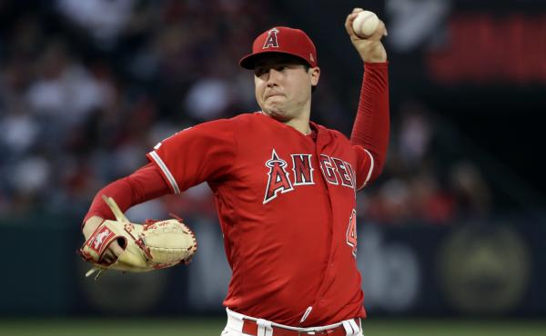 Los Angeles Angels pitcher Tyler Skaggs on the mound against the Oakland Athletics during a game Saturday in Anaheim, Calif. Skaggs died on Monday at age 27.