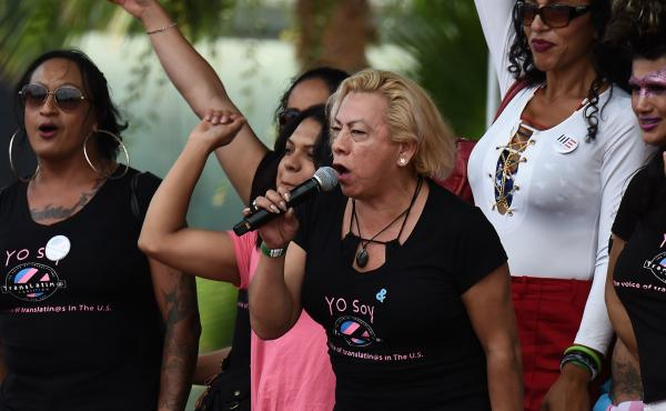 """Bamby Salcedo, here speaking at a 2017 rally, is president and CEO of the TransLatin@ Coalition, one of the plaintiffs in a lawsuit filed to keep Obama-era civil rights protections in place. """"Everyone deserves easy access to health care,"""" Salcedo says, """"a"""