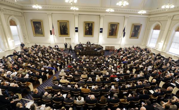 The first session of the New Hampshire House on Jan. 4, 2017, in Concord. The chamber will soon consider legislation that will likely curtail the financial strength of labor unions.