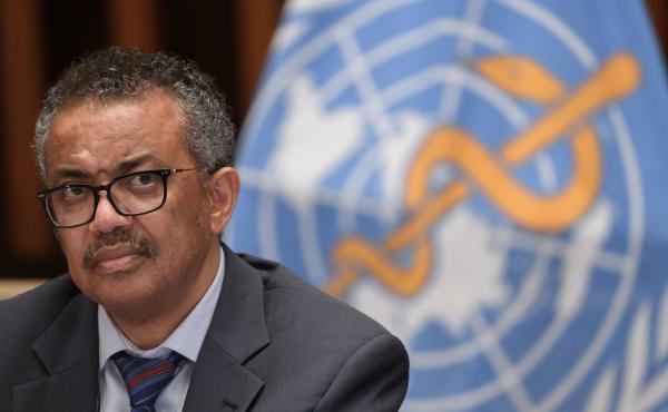 "World Health Organization Director-General Tedros Adhanom Ghebreyesus at a meeting last week at WHO headquarters in Geneva. Tedros says the coronavirus ""thrives on division."""