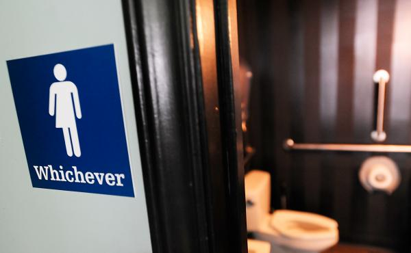 A gender-neutral sign is posted outside a Durham, N.C., bathroom in May 2016.