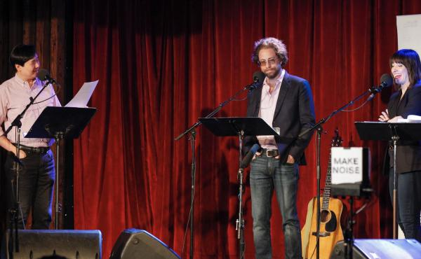 Puzzle Guru Art Chung, musician Jonathan Coulton and host Ophira Eisenberg play a game on NPR's Ask Me Another at The Bell House in Brooklyn, New York.