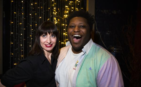 Ask Me Another host Ophira Eisenberg and Larry Owens backstage at the Bell House in Brooklyn, New York.