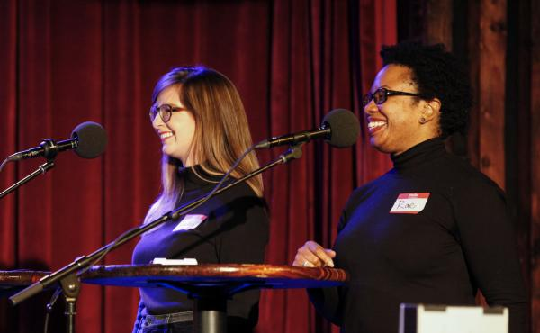 Contestants Shaylyn Berlew and Rae Walker-Stewart play a game on Ask Me Another at the Bell House in Brooklyn, New York.