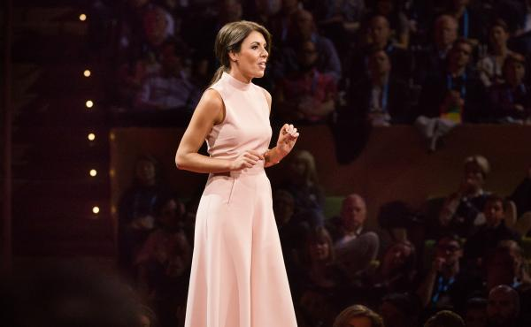 Laura Galante on the TED stage.