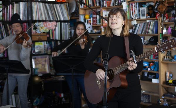 Laura Stevenson performs at a Tiny Desk Concert on Dec. 12, 2019. (Emily Bogle/NPR)
