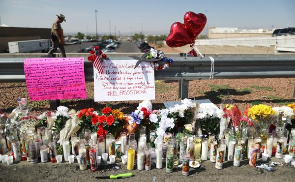 "A makeshift memorial is set up outside Walmart, near the scene of Saturday's mass shooting in El Paso, Texas. Lawmakers in some states have passed what are known as ""red flag"" laws to prevent such shootings."