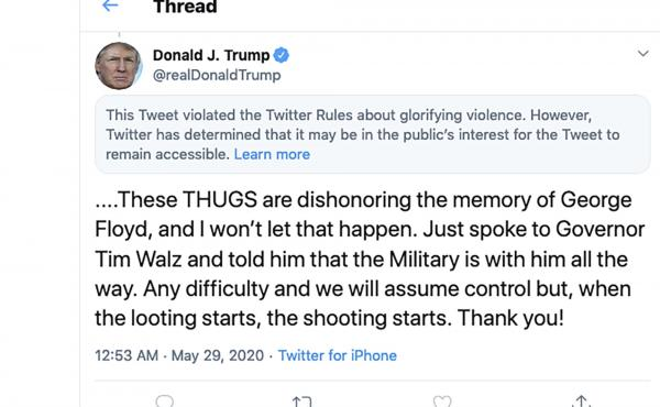 This image from the Twitter account of President Donald Trump shows a tweet he posted on Friday, May 29, 2020, after protesters in Minneapolis. On Tuesday, the Center for Democracy and Technology sued Trump over the president's executive order aimed at li