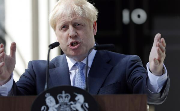 """A leaked Brexit document predicts a """"catastrophic collapse"""" of the U.K.'s infrastructure if Britain leaves the EU with no deal. Above, British Prime Minister Boris Johnson gestures as he speaks outside 10 Downing Street in London in July."""