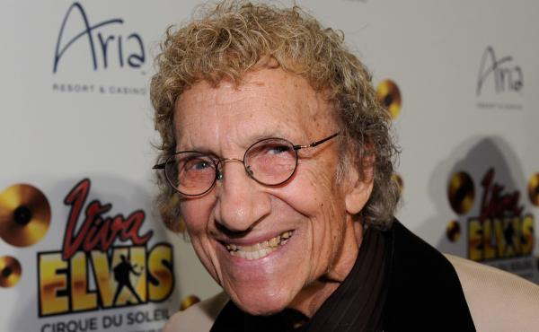 """Comedian Sammy Shore arrives at the world premiere of Cirque du Soleil's """"Viva ELVIS"""" production at the Aria Resort & Casino on Feb. 19, 2010 in Las Vegas."""