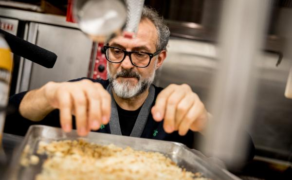 """Chef Massimo Bottura creates a meal from Thanksgiving leftovers in NPR's kitchen. """"The leftover is a big problem if you don't have a vision, if you don't have the knowledge of what you can do,"""" he says. Above, he checks the breadcrumbs to make sure they'r"""