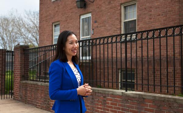 Dr. Leana Wen, Baltimore City health commissioner, visits a newly opened Safe Streets center in the Sandtown-Winchester neighborhood in West Baltimore.