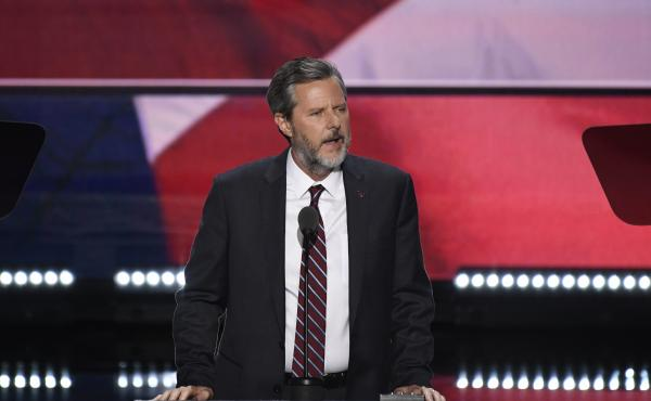 Jerry Falwell Jr., pictured at the 2016 Republican National Convention in Cleveland, Ohio, is the subject of a new lawsuit by Liberty University, his former employer.