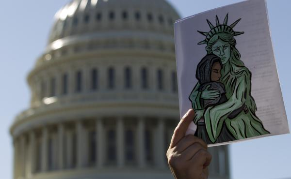Faith leaders and members of human rights groups protest outside of the U.S. Capitol calling Congress not to end refugee resettlement programs on Oct. 15, 2019, in Washington.
