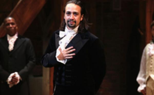 Lin-Manuel Miranda appears in Hamilton's opening night at the Richard Rodgers Theatre in New York City, in August 2015.