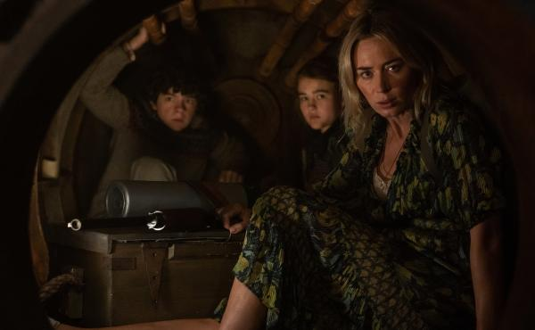 Marcus (Noah Jupe), Regan (Millicent Simmonds) and Evelyn (Emily Blunt) brave the unknown in A Quiet Place Part II.