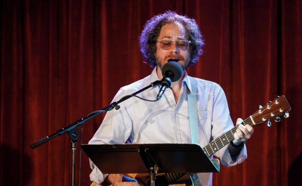 House musician Jonathan Coulton leads a music parody game at the Bell House in Brooklyn, New York.