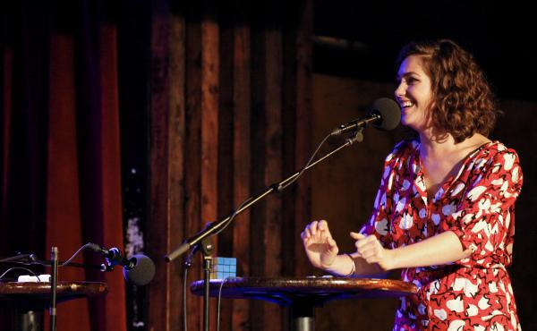 Lola Kirke appears on the Ask Me Another stage at the Bell House in Brooklyn, New York.