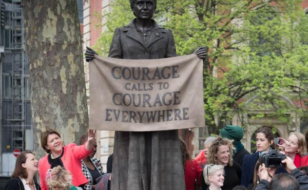 The statue of suffragist leader Millicent Fawcett is unveiled Tuesday in Parliament Square in London.
