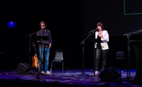 Jonathan Coulton and Ophira Eisenberg lead Ask Me Another's final round at the Paramount Theatre in Austin, Texas.